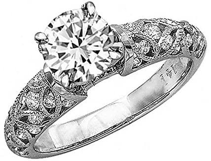 Read more about the article 2.47 Carat 14K White Gold Vintage Channel Filigree Milgrain GIA Certified Round Cut Diamond Engagement Ring (1.97 Ct G Color VVS2 Clarity Center Stone)