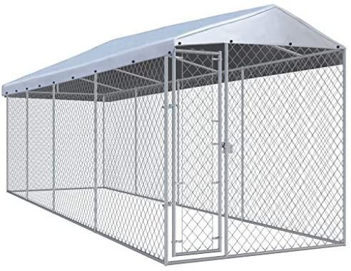Read more about the article vidaXL Outdoor Dog Kennel with Roof Lockable Mesh Sidewalls Heavy Duty Garden Backyard Pet Cage 299″x75.6″x88.6″ Galvanized Steel