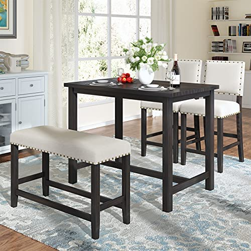 Read more about the article Dining Table Set 4 Piece, Wooden Counter Height Dining Table Set with Upholstered Bench and 2 Chairs, Rustic Compact Bar Table Set, Perfect for Small Kitchen Dining Room, Espresso+ Beige