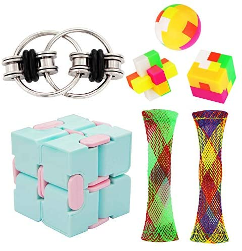Read more about the article VQVAAQ 7 Packs Infinity Cube Flippy Chain Fidget Toy Building Block Puzzle Marble Fidget Toys Stress Relief Toy