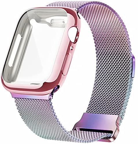 Read more about the article JuQBanke Metal Magnetic Bands Compatible for Apple Watch Band 38mm with Case, Stainless Steel Milanese Mesh Loop Replacement Strap Compatible with iWatch Series SE 6/5/4/3/2/1 for Women Men,Colorful