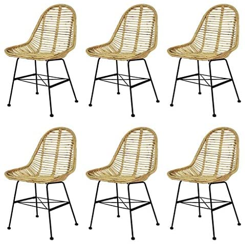 Read more about the article vidaXL 6X Dining Chair Natural Rattan Wicker Brown Colonial Kitchen Home Seat