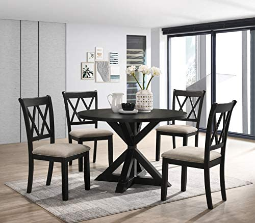 Read more about the article Roundhill Furniture Windvale Cross-Buck Wood 5-Piece Dining Set, Black