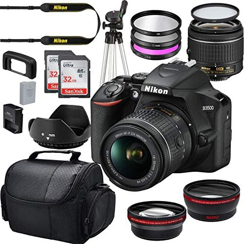 Read more about the article Nikon D3500 W/AF-P DX NIKKOR 18-55mm f/3.5-5.6G VR Import + Deluxe Starter Bundle Including 2 32GB Sandisk SD Memory Cards, Wide Angle and Telephoto Lens, Gadget Bag Plus More