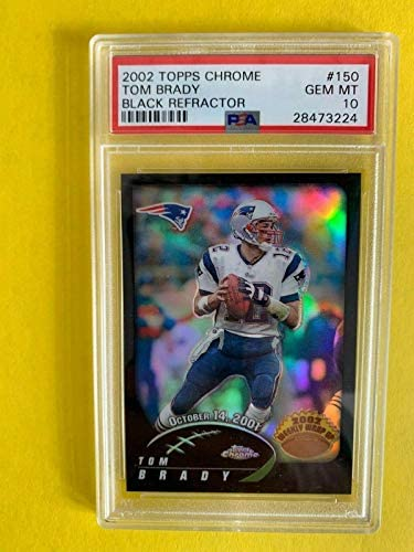 Read more about the article 2002 Topps Chrome Tom Brady #150 BLACK REFRACTOR PSA 10 ~ /599 FIRST ~ POP 2 – Slabbed Football Cards