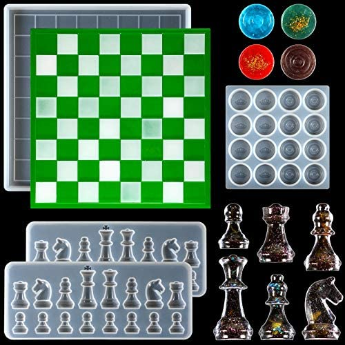 Read more about the article 4 Pieces Chess Board Silicone Resin Molds Set, 2 Pieces 3D International Chess Molds, Mini Chess Board Epoxy Mold and Checkers DIY Casting Mold for DIY Art Crafts Jewelry Making Family Board Games
