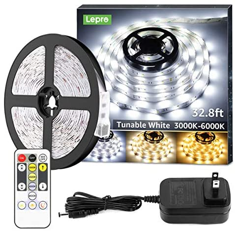 Read more about the article Lepro LED Strip Light, 3000K-6000K Tunable White, 32.8ft Dimmable Super Bright LED Tape Lights, 600 LEDs SMD 2835, Strong 3M Adhesive, Suitable for Home, Kitchen, Under Cabinet, Bedroom