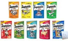 Temptations Huge Variety Pack, All 9 Flavors: Chicken, Salmon, Seafood Medley, Turkey, Tuna, Catnip Fever, Beef, Surfer, Cookout and 1 Pet Paws Notepad (9 Bags Total, 3 Ounces each)