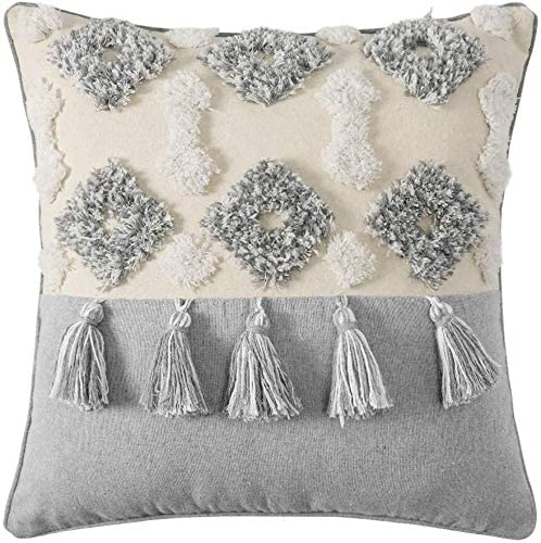 Read more about the article Yolife Decorative Throw Pillow Cover – Fringed Hand Woven Cushion Cover – On-Trend Macrame Boho Pillow Cover for Your Couch, Sofa, Bed or Chair – 17.5×17.5 Inch (Cotton)