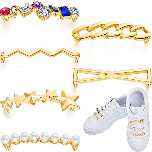 Read more about the article 6 Pieces Shoelaces Decoration Clips Faux Pearl Rhinestones Shoes Accessory Decorations DIY Decorative Shoe Clips Charms Golden Shoelaces Decorations for Sneakers and Casual Shoes
