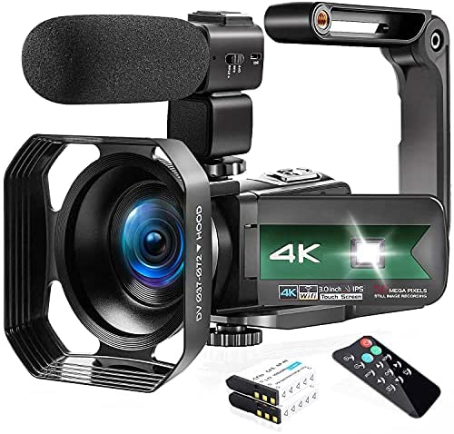 """Read more about the article Video Camera, Zohulu 4K Camcorder WiFi Ultra HD 56MP Night Vision YouTube Camera for Vlogging, 3.0"""" IPS Screen 16X Digital Zoom Video Camera with Microphone, 2 in 1 Charger, 2 Batteries"""