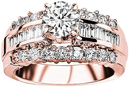 Read more about the article 2.97 Carat 14K White Gold Channel Baguette Round Diamond Designer Engagement Ring (1.97 Ct G Color VVS2 Clarity Center Stone)