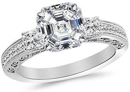 Read more about the article 3.02 Ctw 14K White Gold Three 3 Stone Princess Cut Channel Set Asscher Cut GIA Certified Diamond Engagement Ring (2.52 Ct E Color VS2 Clarity Center Stone)