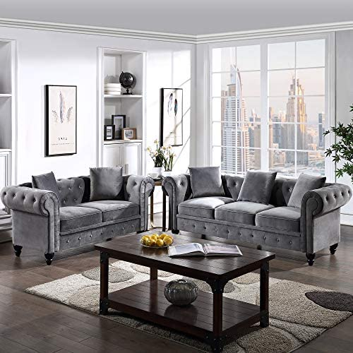 Read more about the article 2 Pieces Living Room Sofa Set, Couch Furniture Button Tufted Velvet Upholstered Sofa Low Back, Roll Arm Classic Chesterfield Settee with 5 Pillows for Living Room, Office (Gray, 2 Seat+3 Seat)