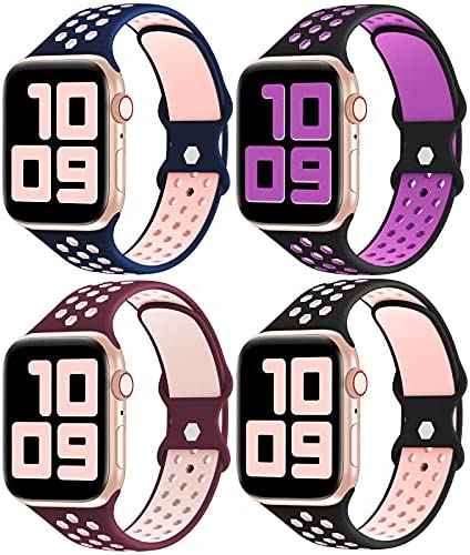 Read more about the article YAXIN 4 Pack Bands Compatible with Apple Watch Bands 44mm 42mm 40mm 38mm Women Men,Breathable Soft Silicone Sport Band Replacement Strap for iWatch Series SE/6/5/4/3/2/1