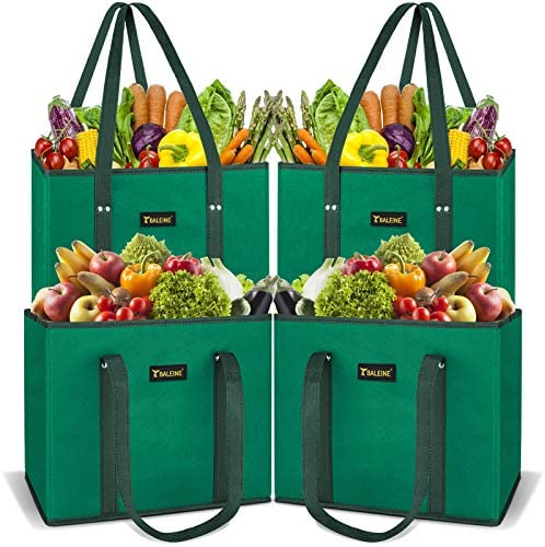 Read more about the article BALEINE 4 Pack Reusable Grocery Bags Shopping Bag with Reinforced Bottom and Handles (Green)