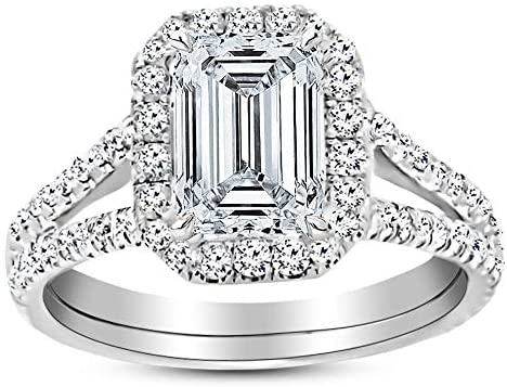 Read more about the article 3.5 Ctw 14K White Gold Split Shank Emerald Cut GIA Certified Diamond Engagement Ring (3 Ct J Color VS2 Clarity Center Stone)