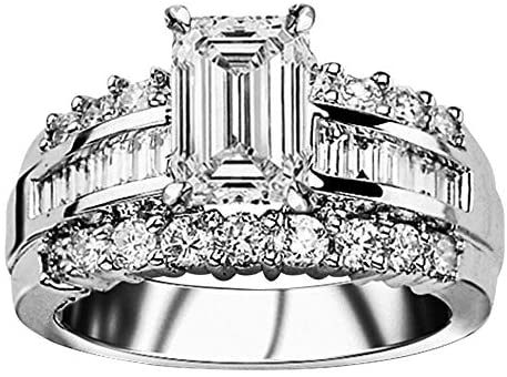 Read more about the article 4 Ctw 14K White Gold Channel Baguette Round GIA Certified Designer Diamond Engagement Ring Emerald Shape (3 Ct J Color VS2 Clarity Center Stone)