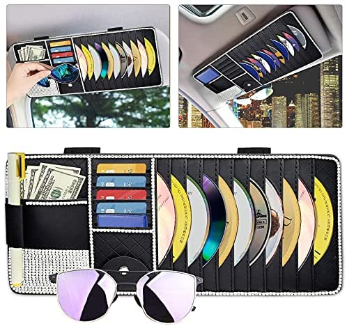 Read more about the article Car CD Case Holder Bling, Vehicle Sun Visor Organizer for Cars with 11 DVD Storage Sleeves, Card Pockets, Pen Holder and Glasses Holder, Bling Car Accessory for Women