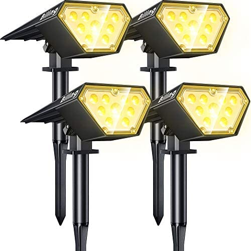 Read more about the article Biling Solar Spotlights Outdoor, 2-in-1 Solar Landscape Lights 12 LED Bulbs Solar Powered Lights IP67 Waterproof Adjustable Wall Light for Patio Pathway Yard Garden Driveway Pool – Warm White(4 Pack)