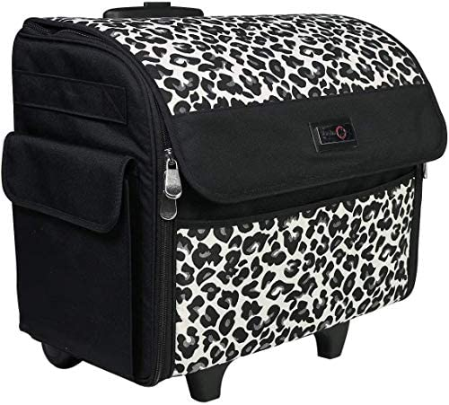 Read more about the article Everything Mary Collapsible Cheetah Print Rolling Sewing Machine Tote – Sewing Machine Case Fits Most Standard Brother & Singer Sewing Machines, Sewing Bag with Wheels & Handle