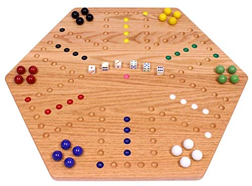 Read more about the article AmishToyBox.com Aggravation Game Board Set – 24″ Wide – Oak Wood – Double-Sided – with Large 22mm Marbles and Dice Included