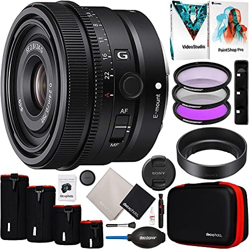 Read more about the article Sony FE 24mm F2.8 G Full Frame Ultra Compact Lens SEL24F28G for E-Mount Mirrorless Cameras Bundle with 49mm UV/Polarizer/FLD Filter Kit + Deco Photo Protective Case 4 Pack + Software and Accessories