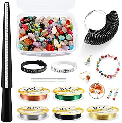 Read more about the article Ring Making Kit, OLSUNOR Jewelry Making Kit with 400pcs Stone Beads, Ring Size Measuring Tools with Ring Mandrel, Ring Sizer Gauge, Finger Size Gauge, Ring Size Adjuster, Jewelry Wire for DIY Craft