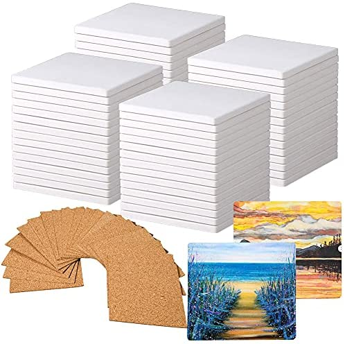 Read more about the article 60 PCS Square Unglazed Ceramic Tiles for Crafts Coasters with 60 PCS 2mm Self Adhesive Cork Squares,White Tiles 4×4 for Crafts Ceramic