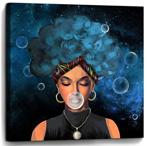 Read more about the article Bedroom Wall Decor African American Woman Print Picture Paintings Framed Wall Art for Bathroom Kitchen Office Modern Popular Room Decorations Artwork Woman With Blue Hair Size 14×14 inch Ready to Hang