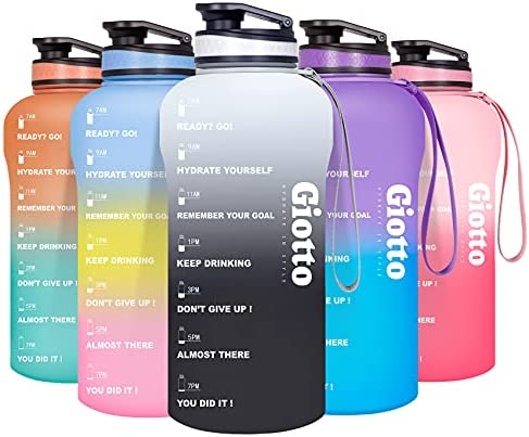 Read more about the article Giotto Large Half Gallon/64oz Motivational Water Bottle with Time Marker & Removable Strainer, Leakproof BPA Free Water Jug to Remind You Drink More Water and Hydrate in Style