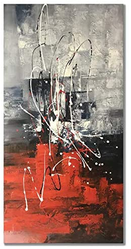 Read more about the article zoinart Abstract Vertical Paintings Canvas Wall Art 48x24inch Handmade Modern Colorful Oil Painting on Canvas Art Red Artwork for Living Room Aisle Bedroom Dining Room Wall Decor