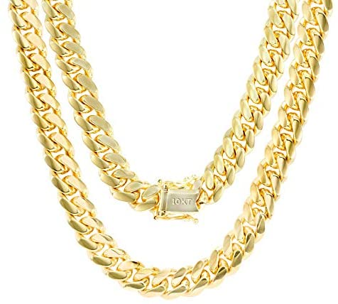 Read more about the article Nuragold 10k Yellow Gold 8mm Solid Miami Cuban Link Chain Necklace, Mens Jewelry Box Clasp 22″ 24″ 26″ 28″ 30″