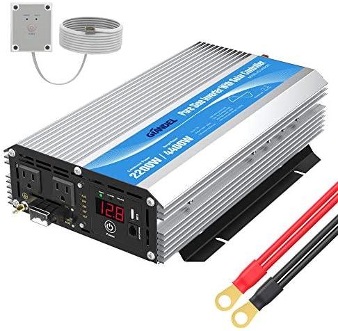 Read more about the article GIANDEL 2200W Pure Sine Wave Power Inverter 12V DC to 110V 120V AC with 20A Solar Charge Control and Remote Control&LED Display and Dual AC Outlets &1×2.4A USB Port for RV Truck Car Solar System