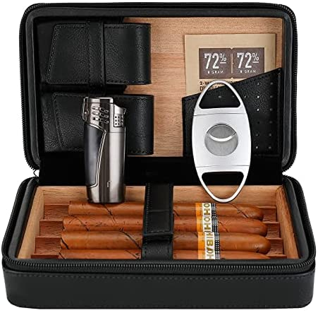 Read more about the article CiTree Portable Cigar Humidor, Cedar Wood Leather Cigar Case with Lighter and Cigar Cutter, Black