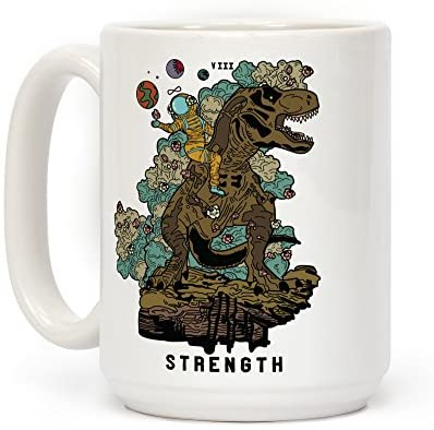 Read more about the article LookHUMAN Dinosaur Strength Tarot White 15 Ounce Ceramic Coffee Mug