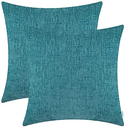 Read more about the article CaliTime Pack of 2 Cozy Throw Pillow Covers Cases for Couch Sofa Home Decoration Solid Dyed Soft Chenille 20 X 20 Inches Teal