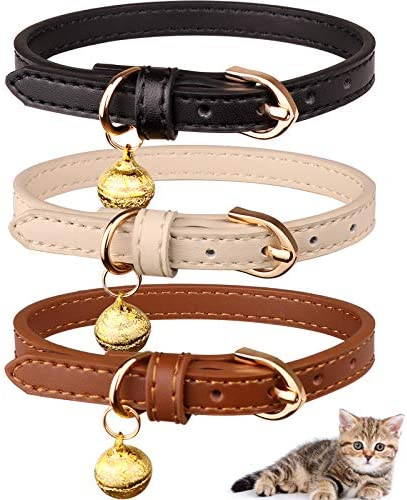 Read more about the article Jamktepat 3 Pack Leather Cat Collars with Bells Soft Pet Safety Collar Kitten Collars with Bell Black Chocolate Beige