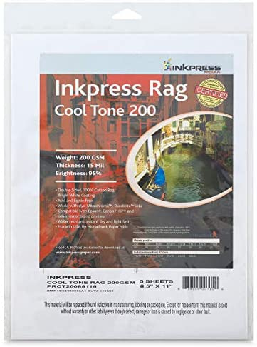 """Read more about the article Inkpress Rag Digital Paper – Cool Tone, 200 gsm, 8-1/2"""" x 11"""", 25 Sheets"""