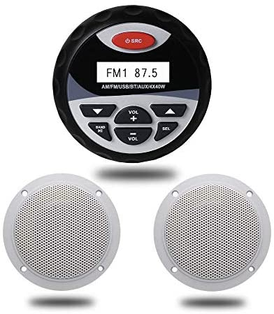 Read more about the article Herdio Marine Bluetooth Stereo Package, MP3/USB AM/FM Radio +4 Inches Marine Ceiling Flush Wall Mount Speakers (Round,A Pair)