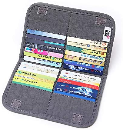 Read more about the article iN. Slim credit card holder wallet, Gift card display case, Minimalist light thin card storage case rfid blocking for men & women, with 28 slots in Grey