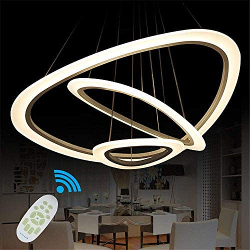 Read more about the article Ziplighting Modern LED Chandelier Pendant Light with Triangle Ring Adjustable Pendant Light Ceiling Fixture Contemporary for Bedroom Living Room Dining Room Kitchen Island with Remote Control (White)