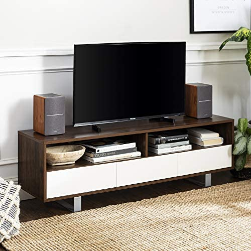 Read more about the article Walker Edison Mid Century Modern 3 Drawer Universal Stand for TV's up to 65″ Flat Screen Living Room Storage Entertainment Center, 60 Inch, Dark Walnut
