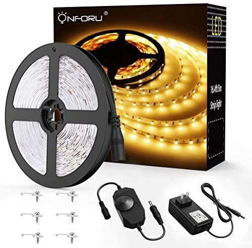 Read more about the article Onforu 16.4ft LED Strip Light, 3000K Warm White Dimmable Tape Light, 5m 12v Ribbon Light, 2835 LEDs Flexible Strip Lighting for Home, Kitchen, Under Cabinet, Bedroom, Non-Waterproof