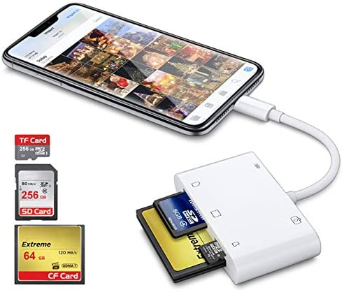 Read more about the article DenicMic SD CF Card Reader for iPhone iPad, 5 in 1 SD CF TF Memory Card Reader Adapter Camera Card Reader Trail Game Camera Viewer for iPhone 12/11/X/8 Plus/8/7 Plus/7, iPad Mini/Air, No App Required