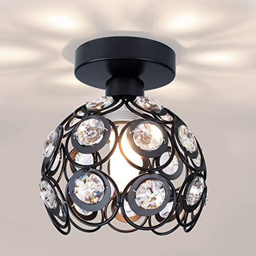 Read more about the article Industrial Vintage Ceiling Light with Black Finished Metal Crystal Shade, Modern Farmhouse Semi Flush Mount Ceiling Light Fixture for Kitchen Hallway Small Foyer Entryway Bathroom Closet