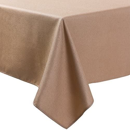 Read more about the article Basketweave 52X 52 Inch Birch Color Classic Polyester Square Tablecloth Tight Weight No Iron Easy Care Durable Affordable with Miter Corners