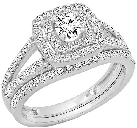 Read more about the article Dazzlingrock Collection 1.00 Carat (ctw) 10K Gold Round Diamond Split Shank Halo Engagement Ring Set 1 CT