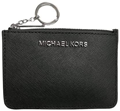 Read more about the article Michael Kors Jet Set Travel Small Top Zip Signature Coin Pouch ID Card Case Wallet Black Silver logo