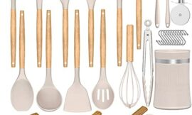 Silicone Kitchen Cooking Utensils Set, Umite Chef 31 pcs Heat Resistant Silicone Wooden Handles Cooking Utensil Spatula Set with Holder, Khaki Kitchen Gadgets Tools Set for Nonstick Cookware